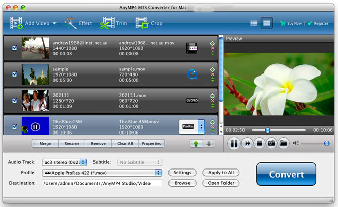 AnyMP4 MTS Converter mac