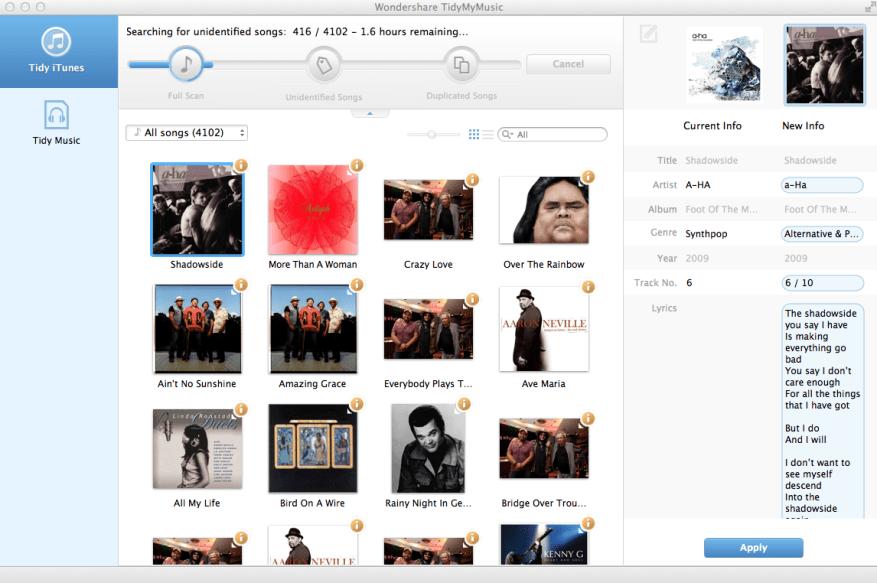 Wondershare TidyMyMusic mac