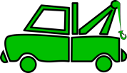 green towing car