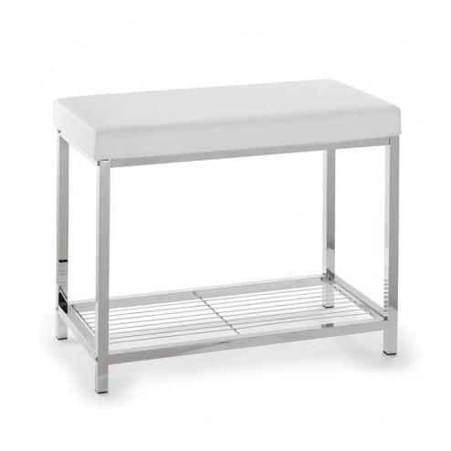 tabouret rectangulaire blanc chrome pour salle de bain