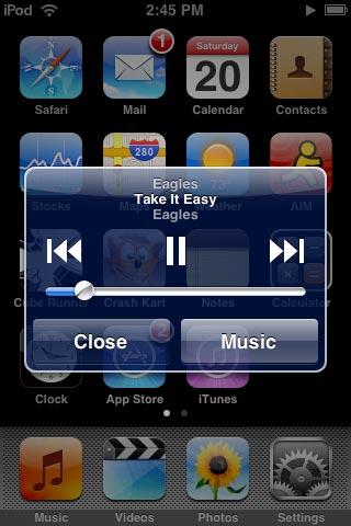 iPod music controls