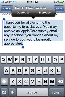 Quote Level in iOS 5 Mail app