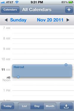 Draggable events in iOS 5 Calendar