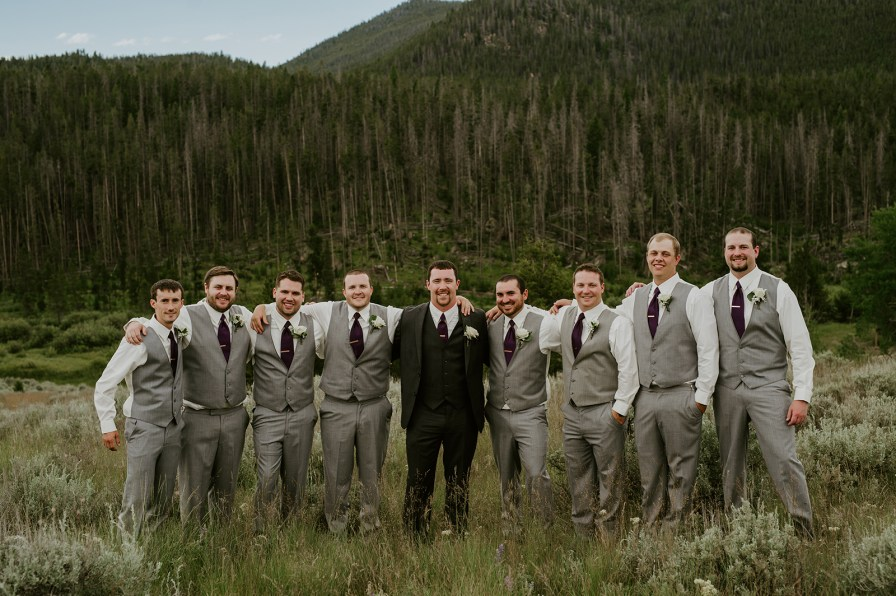 grey and purple groomsmen