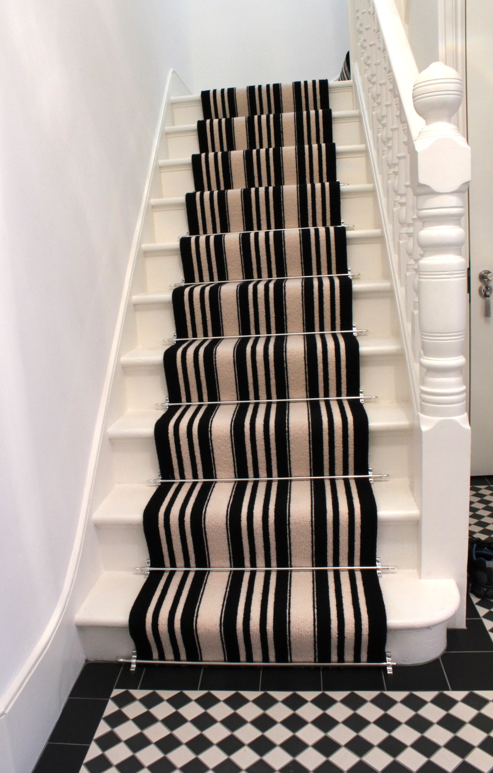 Black And White Striped Stair Carpet 3 Mad About The House | Black And White Stair Carpet | Interior Design | Light Grey | Unusual | Design | Beautiful