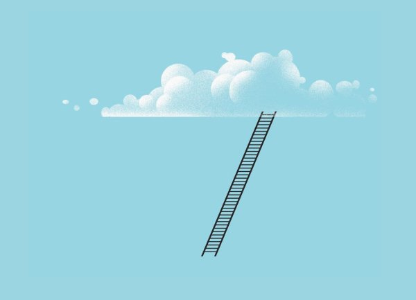 Ladder leaning on cloud