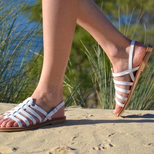 sandale cuir tropezienne blanche
