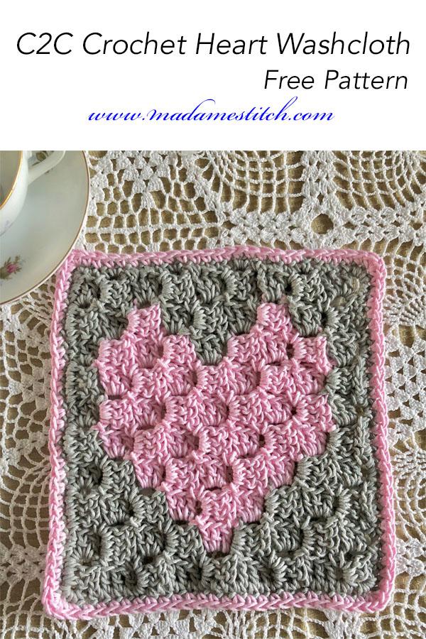 C2c Crochet Heart Washcloth Free Pattern Madamestitch