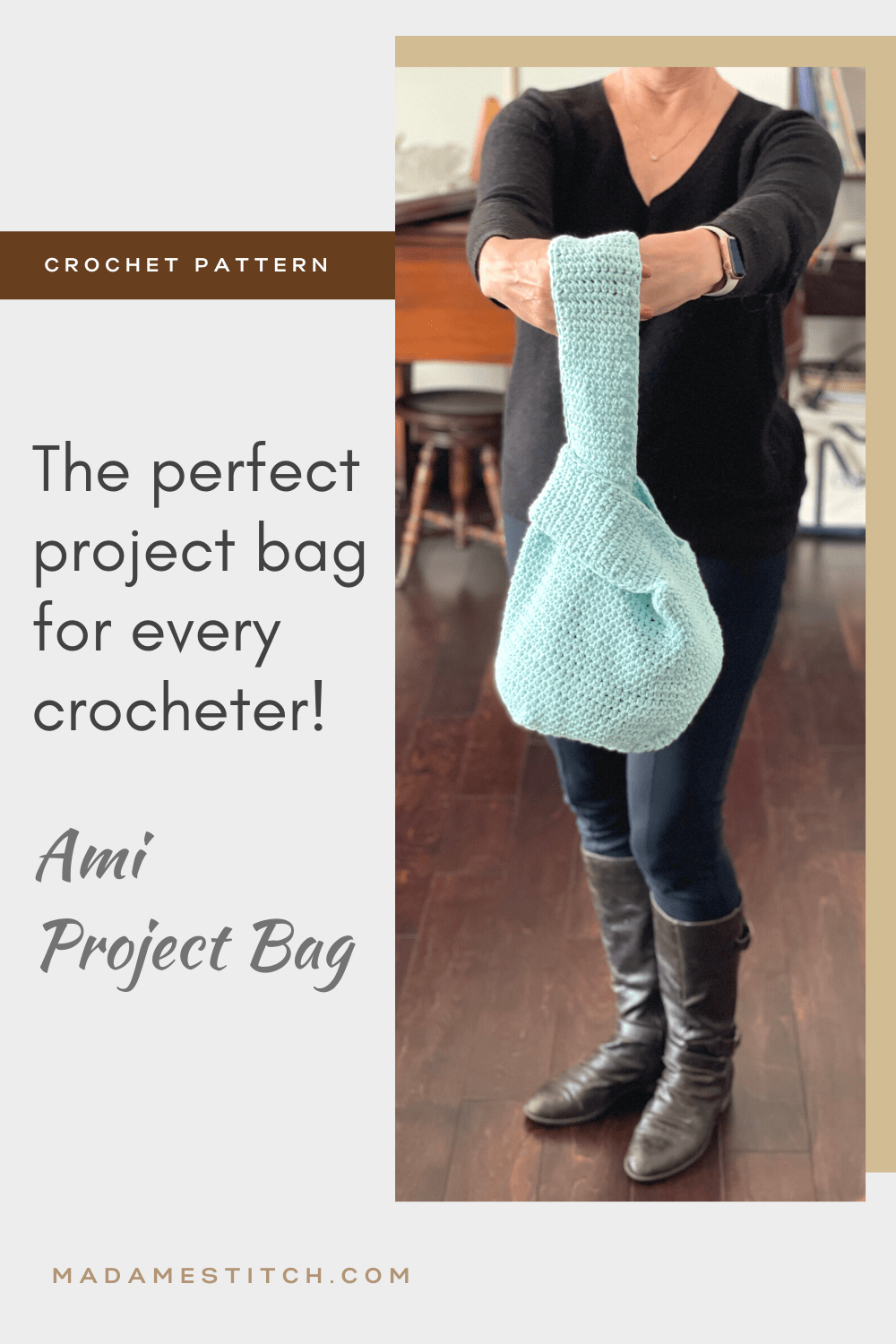 A picture of the Ami project bag being held