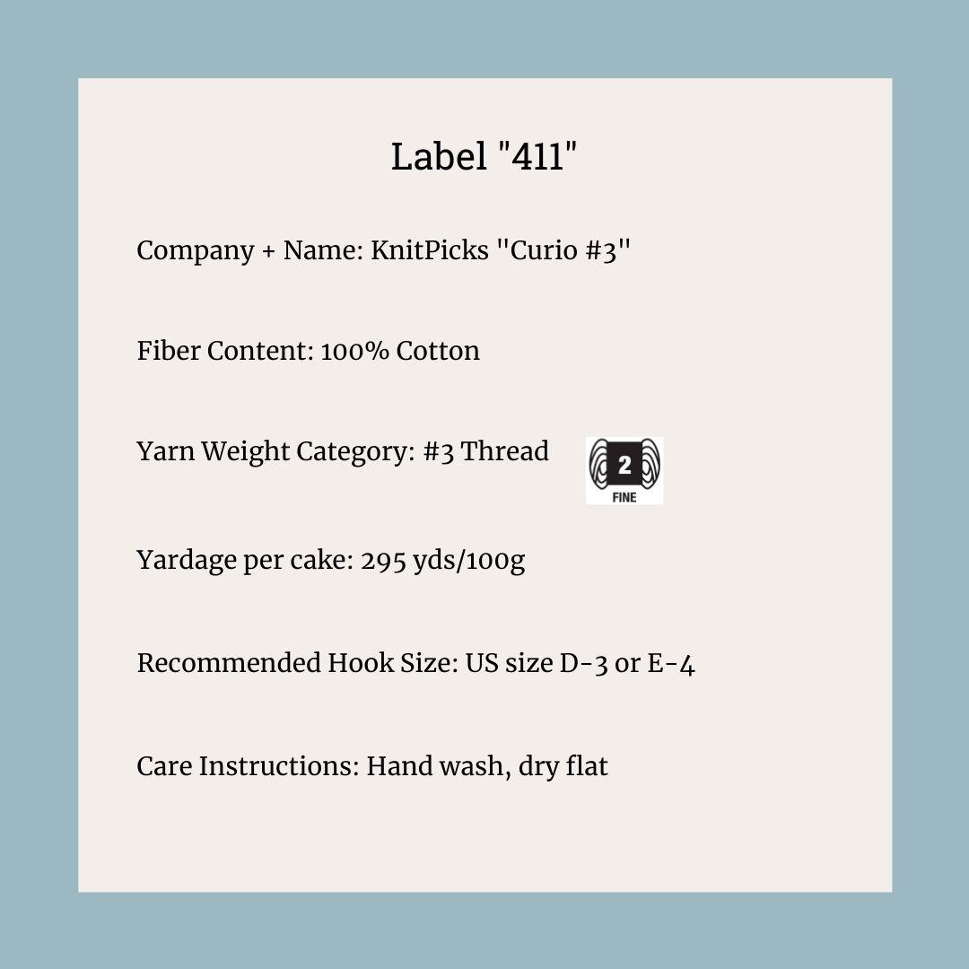 Curio 3 crochet thread information