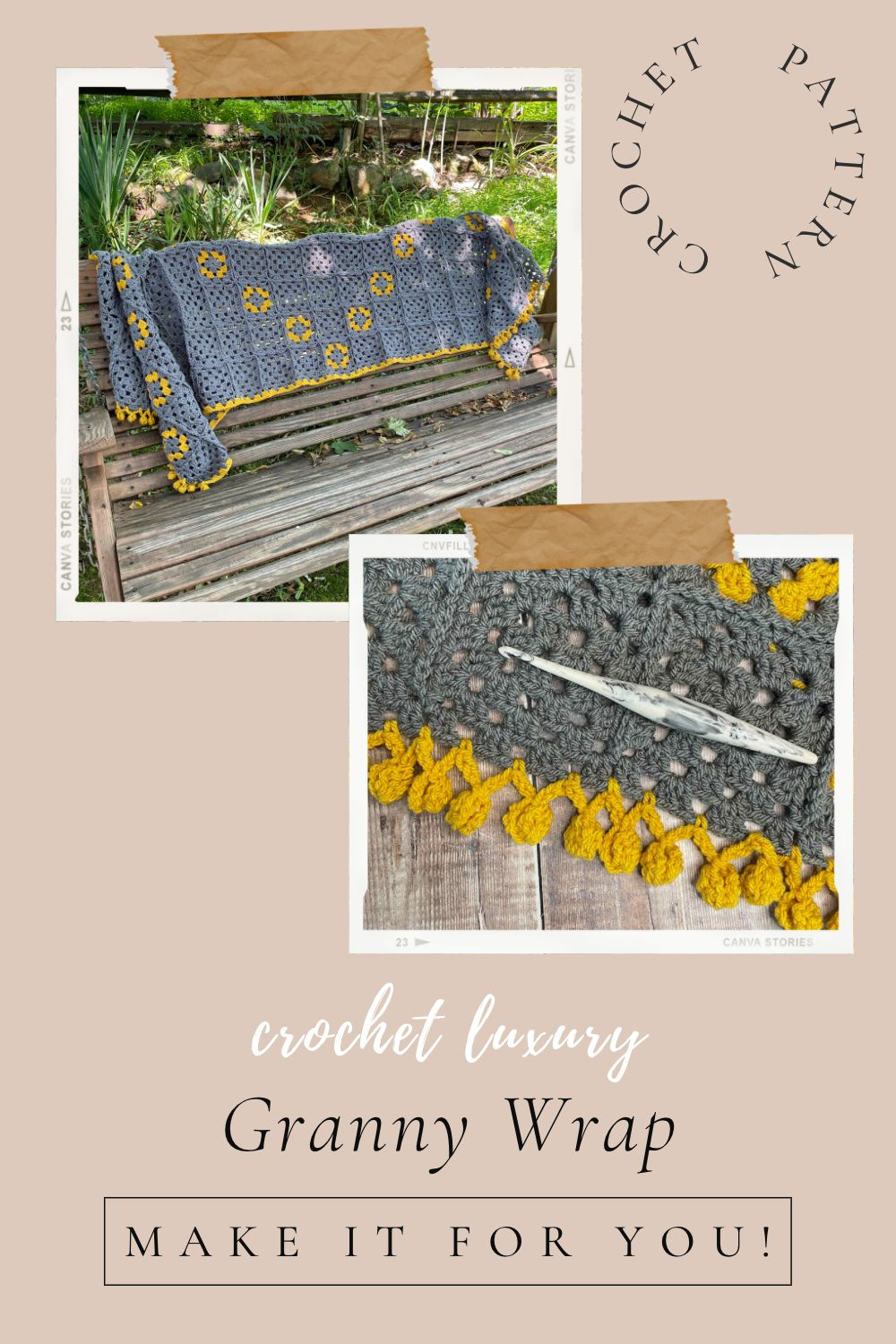 Granny Wrap Crochet Pattern available from MadameStitch