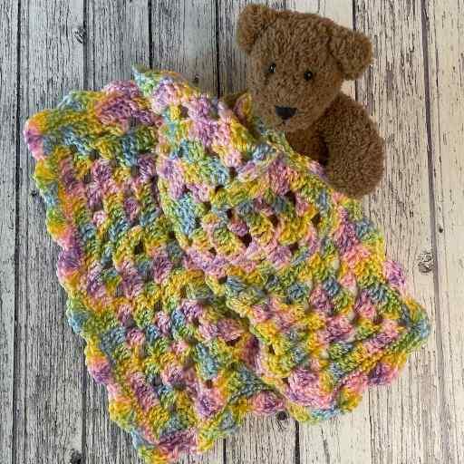 Preemie Lovey baby blanket with teddy bear by MadameStitch