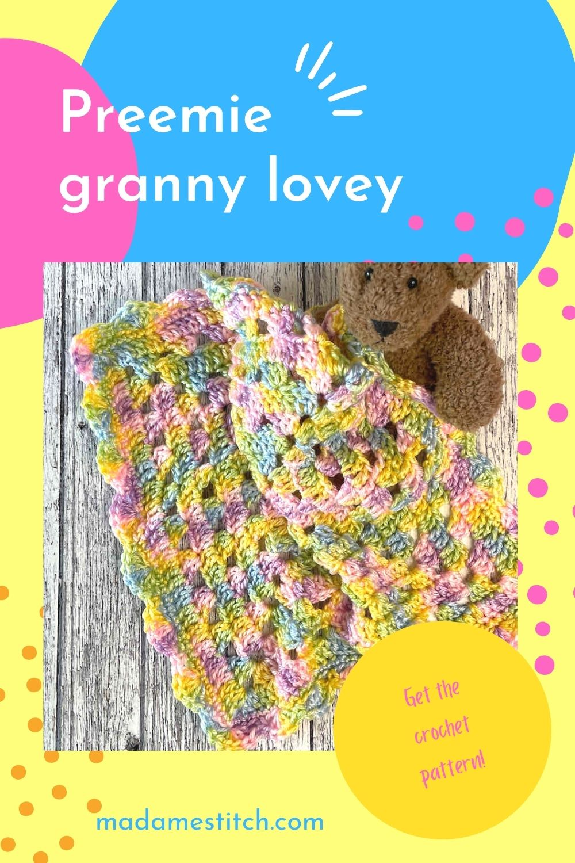 Preemie granny square lovey baby blanket crochet pattern by MadameStitch
