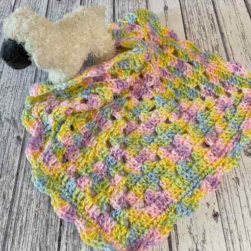 Preemie granny square lovey baby blanket crochet pattern with sheep by MadameStitch