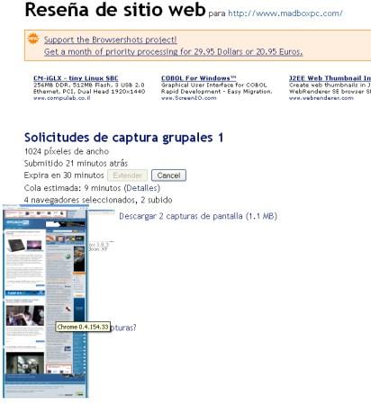 El la foto vemos a Browsershots trabajando mientras toma las screenshots de nuestro sitio en los distintos servidores de su red