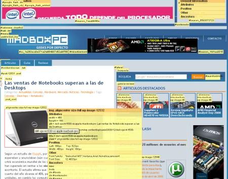 Vista de los elementos en pantalla de Web Developer al solicitar informacion sobre la posicion de los divs y las distintas clases