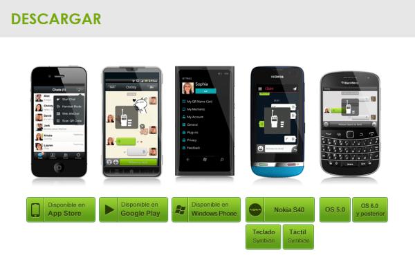 Opciones de descarga para distintas plataformas.