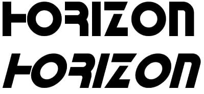 Horizon old fashioned font