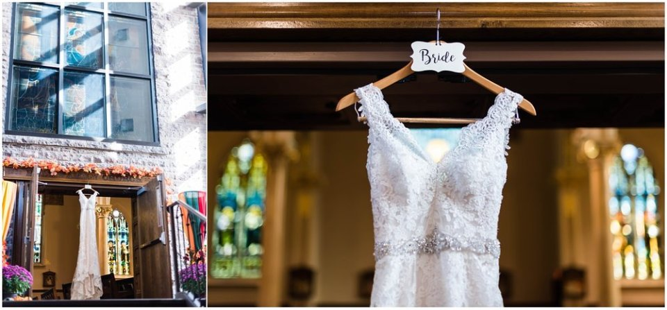 Bride wedding dress hanging in church | Maddie Peschong Photography