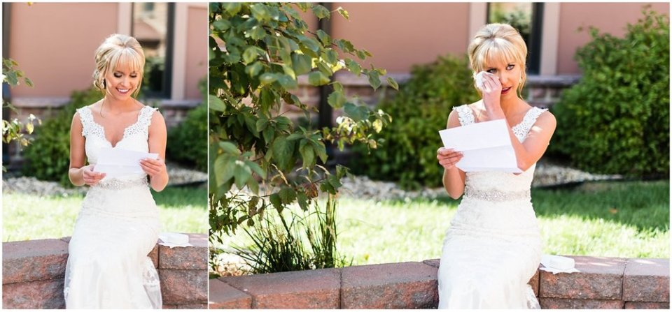 Bride reading letter from groom on wedding day | Maddie Peschong Photography