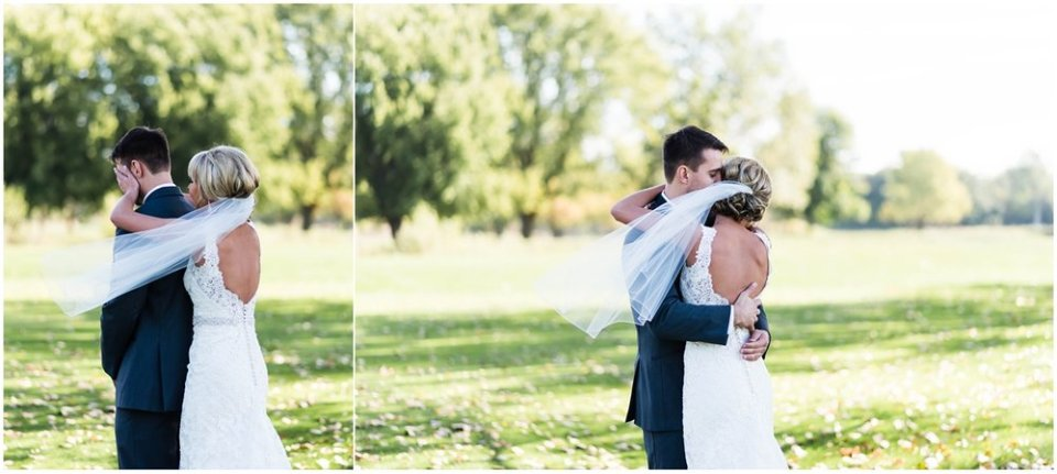 Bride with veil surprising groom | Maddie Peschong Photography