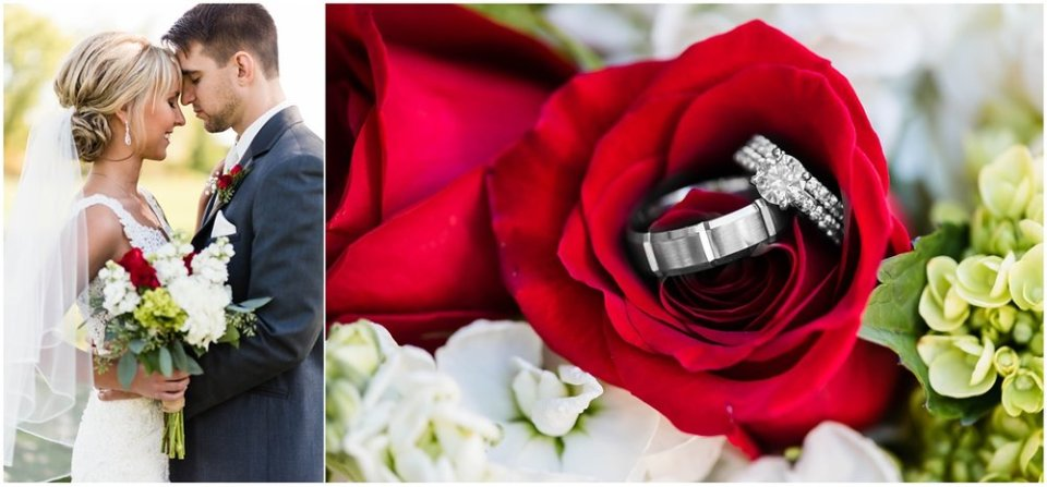 Red roses with wedding rings | Maddie Peschong Photography