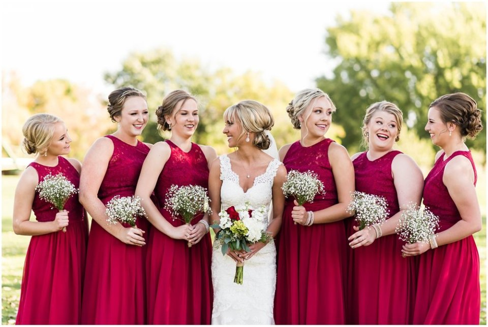 Baby's breath bridesmaid bouquet in fall wedding | Maddie Peschong Photography