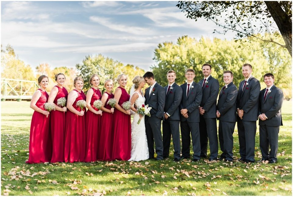 Wine and charcoal wedding party in fall | Maddie Peschong Photography