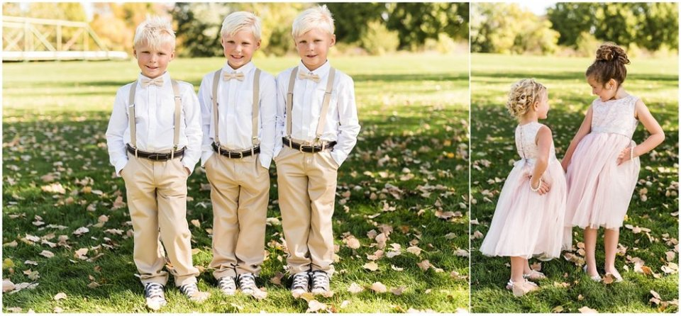 Ring bearer and flower girl outfits for fall wedding | Maddie Peschong Photography