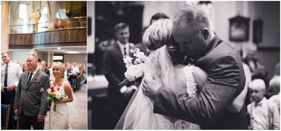 Father's embrace of bride on wedding day | Maddie Peschong Photography