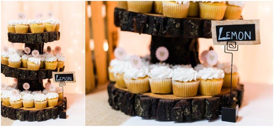 Lemon cupcakes at fall wedding reception | Maddie Peschong Photography