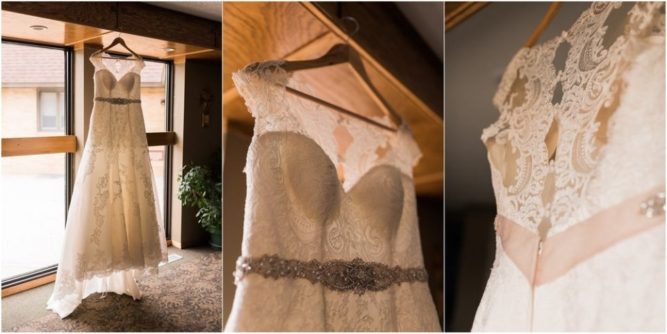 Lace wedding dress hanging up detail shots | Maddie Peschong Photography