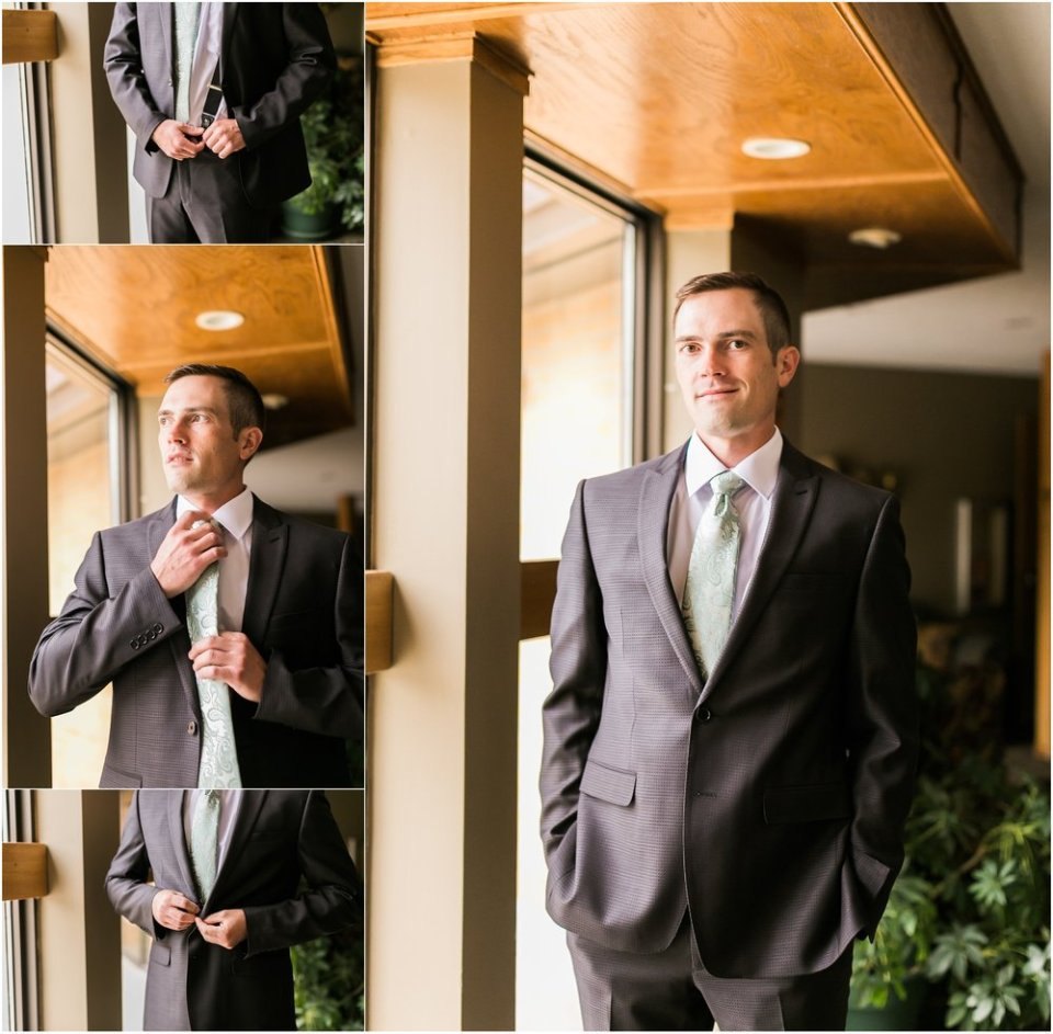 Gray and Mint Groom Wedding Suit Portraits | Maddie Peschong Photography