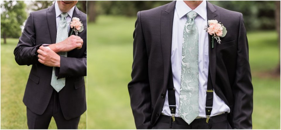 Gray and Mint Groom Wedding Outfit | Maddie Peschong Photography
