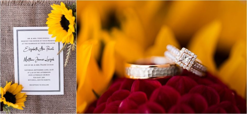 Wedding invitation and wedding rings with sunflowers