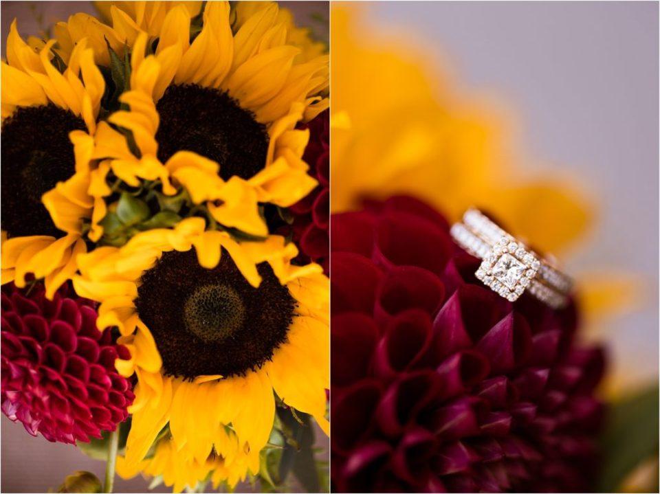 sunflower wedding bouquet wedding ring