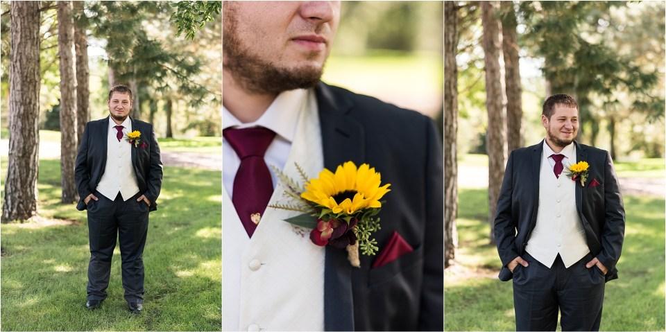 groom on South Dakota fall wedding day