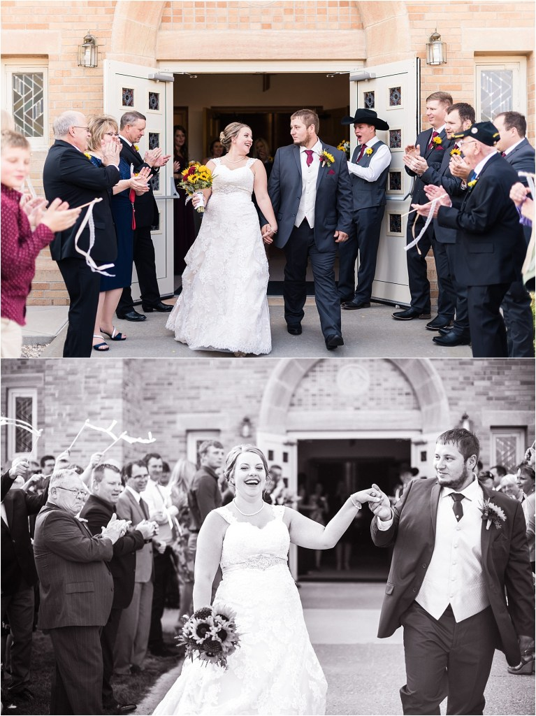 bride and groom leaving church after wedding