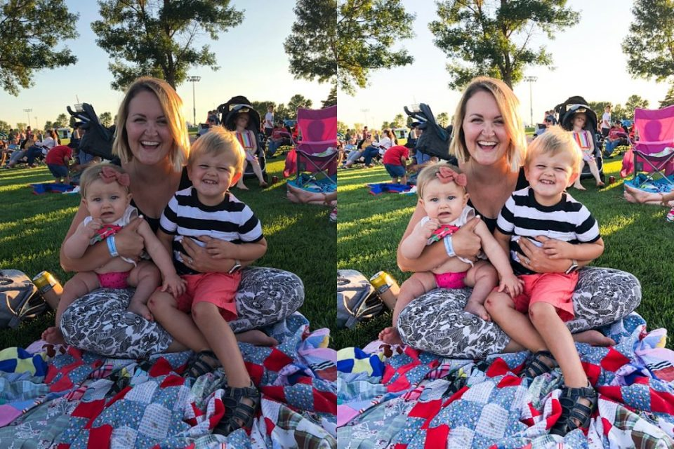 before and after photo edit of mom and young kids