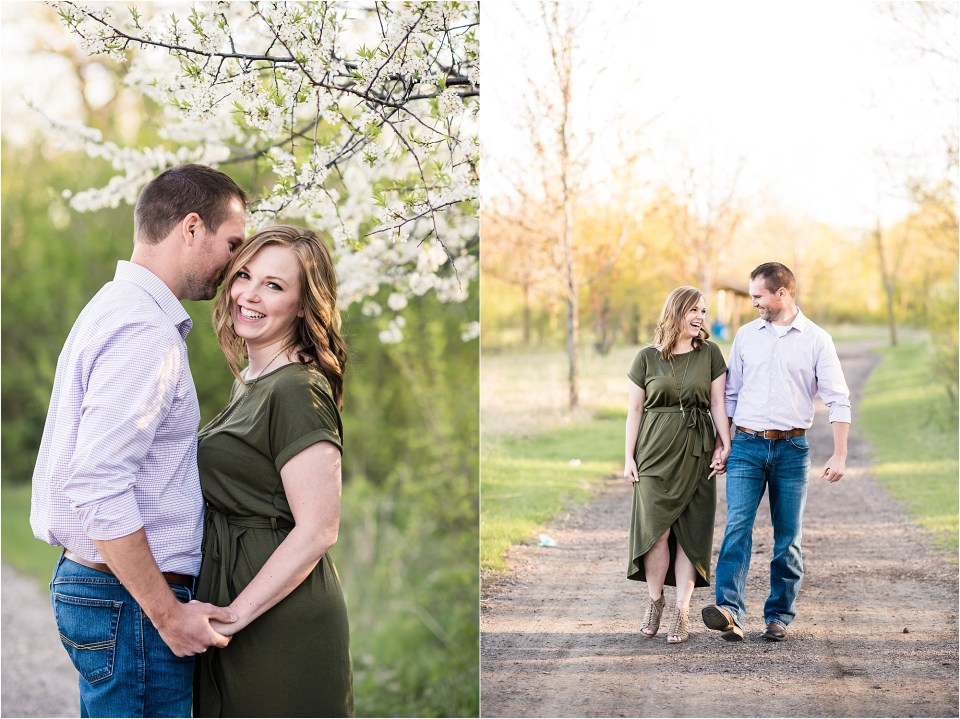 couple laughing at engagement photos