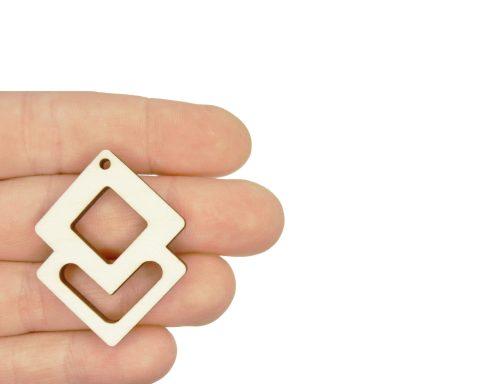 Overlapping Squares Blank Wood Drop Charms