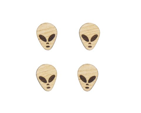 Aliens Engraved Wood Cabochons