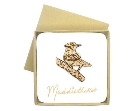 Blue Jay Bird Maple Hardwood Pin| Hand Drawn
