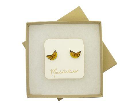 Bananas Maple Hardwood Stud Earrings | Hand Painted