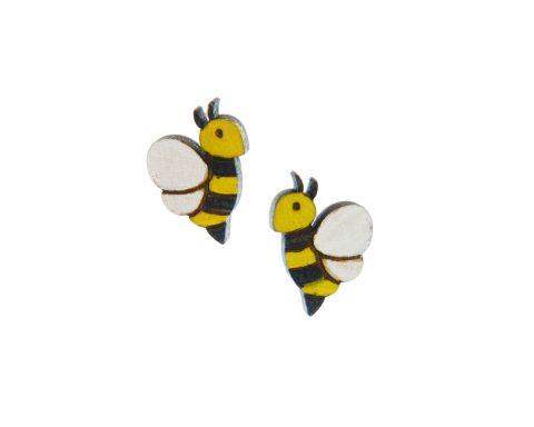 Bees Maple Hardwood Stud Earrings | Hand Painted