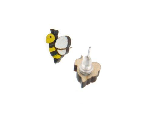 Bees Maple Hardwood Stud Earrings   Hand Painted