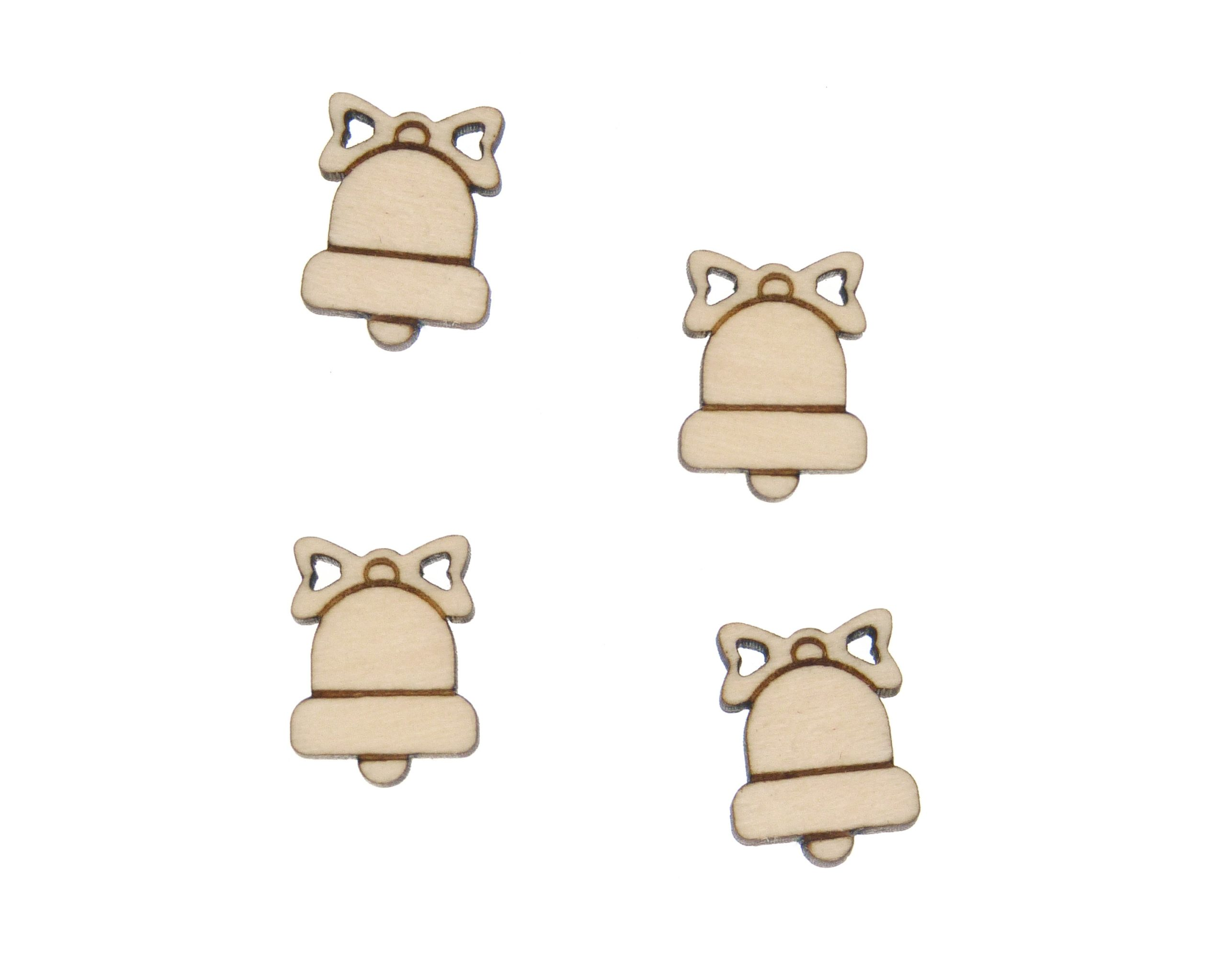 Bells with Bows Engraved Wood Cabochons