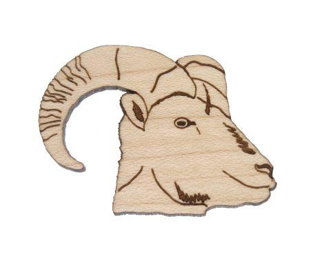 Bighorn Sheep Maple Hardwood Pin | Hand Drawn