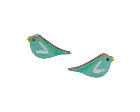 Birds Maple Hardwood Stud Earrings | Hand Painted