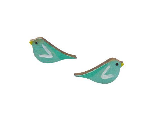 Birds Maple Hardwood Stud Earrings   Hand Painted